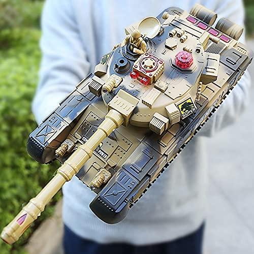 Kikioo 1:32 modelo de coche camuflaje verde radio grande RC tanques de batalla juguete control remoto eléctrico tanque de batalla militar M1A2 vehículo blindado de batalla principal 2,4 GHz USB RC Pan
