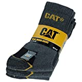 Caterpillar Real Work Socks 3 Paare Herren-Arbeitssocken CAT Unfallverhütung Verstärkt an Ferse und Spitze mit verstärktem Schuss Garn von ausgezeichneter Qualität Baumwollschwamm...
