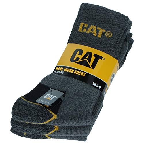 Caterpillar 3 Paare Herren-Arbeitssocken CAT Unfallverhütung Verstärkt an Ferse und Spitze mit verstärktem Schuss Garn von ausgezeichneter Qualität Baumwollschwamm (Anthrazit, 43-46)