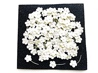 TH 50 Tiny White Color Flowers Embellishment with Thread stem 10 mm Mulberry Paper Flowers Tiny Size Craft Supplies Scrap Booking Embellishments for so Many Card Craft Projects