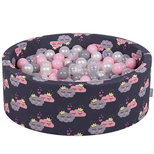 KiddyMoon Bällebad 90X30cm/200 Bälle ∅ 7Cm Bällepool Mit Bunten Bällen Für Babys Kinder, Wolken-Dblau:Perle/Grau/Transparent/Puderrosa