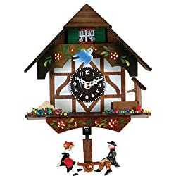 River City Clocks Quartz Novelty Clock - German Chalet with Bird & Well - 6 Inches Tall - Model # 2070Q-06