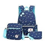 MCUILEE® Juego de 3 bolsas escolares Bowknot Lunares Conjunto de 3 Lindo Kids Book Bag Girls Teen School Mochila con bolsa cruzada y bolsa para lápices
