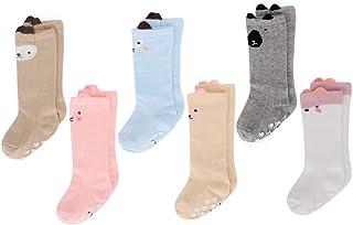 comprar comparacion LACOFIA 6 Pares de calcetines largos de altos para bebé niñas Medias de algodón de punto princesa infantiles niña
