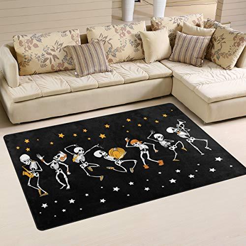 Emoya Area Teppich Halloween Skelette Musik Polyester Teppiche Große Matte Indoor Teppich für Kinder Spielzimmer Schlafzimmer Wohnzimmer Dekor 50 x 78 cm, Textil, multi, 50x78cm (2' x 3'feet)