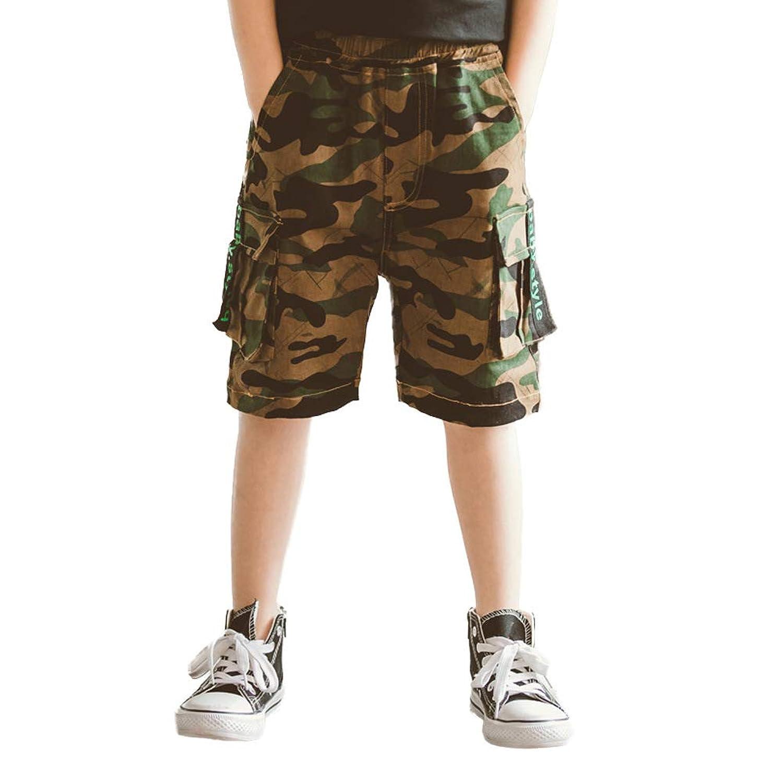子供 ボーイズ 5分丈ハーフ偽装カムフラージュショートパンツ柄短パン 半 ズボン 大きい