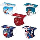 Panpany 10/50/100 Stück Einmal-Mundschutz Erwachsene Motiv Einweg Weihnachten 8-Lagig Atmungsaktive Weihnachtsmotiv Sport Bandana für Damen Männer