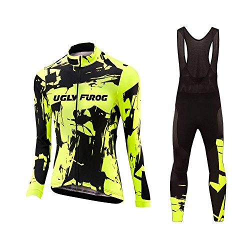 Uglyfrog Fahrrad-Trikot 2019 Winter Damen Mode Fahrradbekleidung Langarm Thermo mit Fleece Anzug Radtrikot Frauen Set