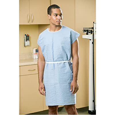 """Graham Professional 260 Exam Gown, Sewn Shoulders, Waist/Neck Ties Case of 25, 36"""" x 44"""", Blue, with Sewn Shoulders, Waist/Neck Ties"""