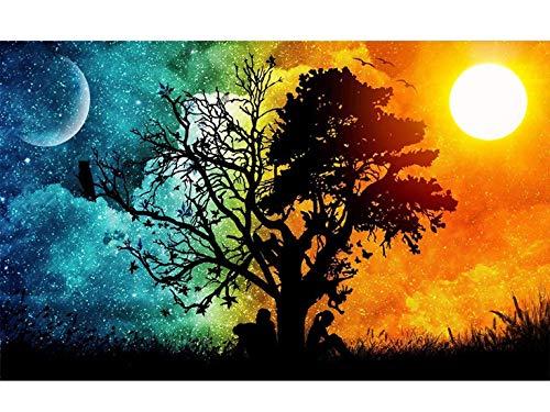 Kit de pintura con brillantes 5D, DIY pintura al oleo por numerosdiseño de mar a la luz de la luna, con diamantes de imitación, para decoración de la pared del hogar 30 x 45 cm