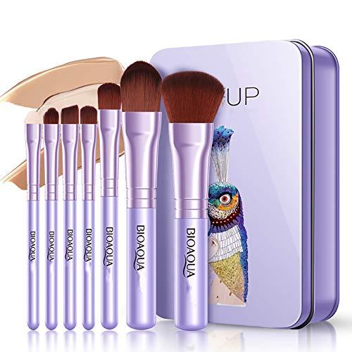 7 Pièce Maquillage Brush Set Fondation Brosse À Lèvres Brosse Éponge Boussole Fine Brush Uniforme Blush Brush Beauté Maquillage Outil,Purple