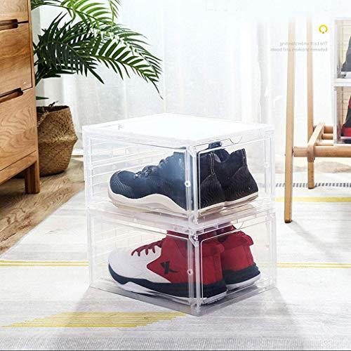 Wghz Schuhablagebox Schuhkarton 3-TLG. Stapelbare, transparente Aufbewahrungsboxen, verwendbar als Schuhregal oder ausziehbarer Schuhregal Klare Kunststoffbox in 2 Farben für EIN besseres Sortime