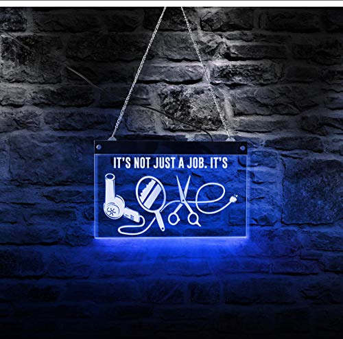 led neon Signs Best Hairdresser Barber Shop Sign Not Just A Job It's Love Attract Customer Eye Hair Dryer Mirror Scissors Lady Neon Sign-50x30cm