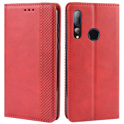 HualuBro Handyhülle für HTC Desire 19 Plus Hülle, Retro Leder Brieftasche Tasche Schutzhülle Handytasche LederHülle Flip Hülle Cover für HTC Desire 19+ Plus 2019 - Rot