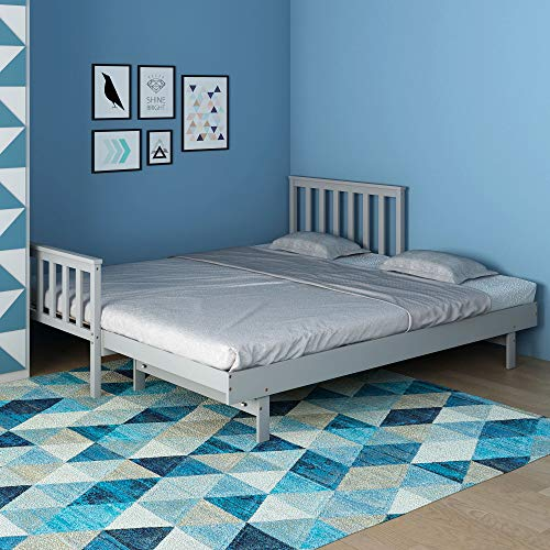 Panana Grey Pine Wood Single Bed with Extra Single Bed 2 in 1 Bed Frame Children Kids Guest Room