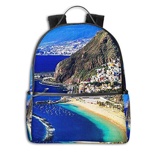 SGSKJ Mochila Tipo Casual Mochila Escolares Mochilas Escolar Estilo Impermeable para Viaje De Ordenador Portátil para Hombre Mujer San Andres Tenerife