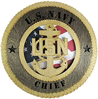 Orange Kat Navy Chief Laser Cut Military Wall Plaque with American Flag