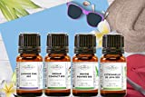 Pack 4 aceites esenciales orgánicos - Selección de verano y viaje - Lavanda fina, menta, orégano, hierba de limón jazmín - MyCosmetik - 4 x 5 ml