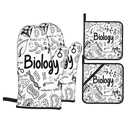 Juego de 4 Manoplas para Horno y Soportes para ollas,Elementos de Escritura a Mano Doodle School Eduion Moléculas Bacteria Laboratorio de química,Guantes de poliéster para Barbacoa