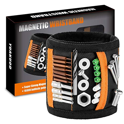 Magnetic Wristband Tools, Tool Belt With 20 Strong Magnets for Holding Screws/Nails/Drill Bits, Magnetic Wristband Gifts for Him/Men/Father/Dad/DIY Handyman/Electrician/Husband/Boyfriend (Black)