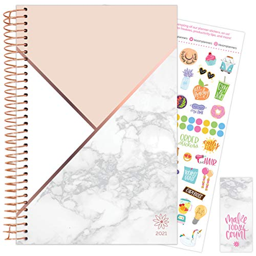 """bloom daily planners 2021 Calendar Year Day Planner January 2021 - December 2021 - 6"""" x 825"""" - WeeklyMonthly Agenda Organizer Book with Stickers Bookmark - Color Blocking Marble"""