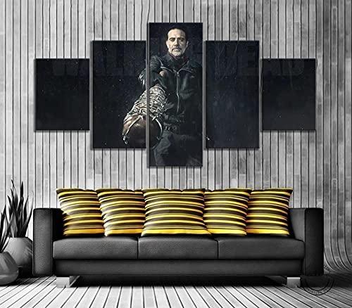 HJYT 5 Piezas De Arte Cuadros Decoracion Salon,Zombie The Walking Dead Moderno HD sobre Lienzos ImpresióN Cuadro Usado para Sala Oficina Hogar Decoracion De Pared Marco-150x80CM