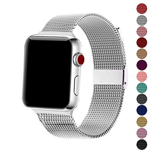 SexHope Compatible for Apple Watch Band 38mm 42mm 40mm 44mm Series 5 4 3 2 1 (Silver, 38mm/40mm)
