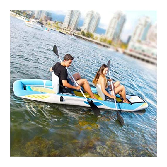 JNWEIYU Double Thickened Kayak, Two-in-one Inflatable Boat, High-Pressure Inflatable Seat, Non-Slip Deck, Elastic… 7 Sturdy two man kayak, ideal for lakes, fishing and sea shores; broad shape combines stability and comfort when out on the water Two person canoe comes with Boston valves for easy inflation and fast deflation; manometer for pressure control included The compact Canadian canoe comes with a durable polyester hull, two PVC side chambers and an ultra-durable tarpaulin shell for high stability and safety on the water