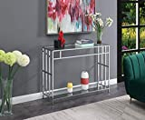 Convenience Concepts Mission Glass Console Table, Clear Glass / Chrome