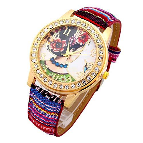 Ethnischer Uhr-Frauen-Mädchen-Blumen-PU-Leder-Frau Armbanduhr legere Kleidung Zubehör Rosa OneSize