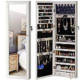 YOKUKINA Jewelry Mirror Armoire Cabinet, Large Storage Organizer w/ LED Light, Door-Hanging/ Wall-Mounted Lockable, white