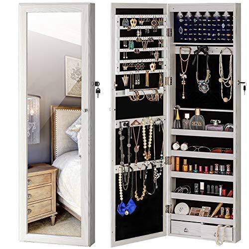 YOKUKINA Jewelry Mirror Armoire Cabinet Large Storage Organizer w LED Light Door-Hanging Wall-Mounted Lockable white