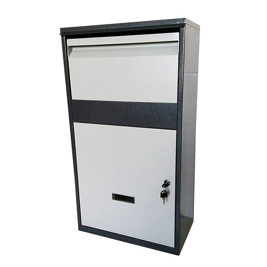 知恵ダルセット瞑想する宅配ボックス 個人宅 亜鉛メッキ鋼製小包ドロップボックス - 含まれるセキュアパッケージ配信メール2キーグレー29.5X16X8.6インチでBoxsロッカー小包シュートロック可能のためにポーチ