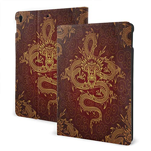 Baliboon Vintage Chinese Dragon Fire Ipad Case Pu Leather 3D Printed Screen Protector Slim Stand Hard Back Shell Protective Shockproof Generation Smart Cover Case for Ipad Air3 7th & Pro 10.5 Inch