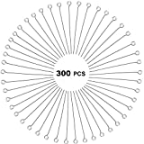 300 Pcs 1.6 Inch 304 Stainless Steel Open Eye Pins Headpins for Jewelry Necklace Making, (Silver)