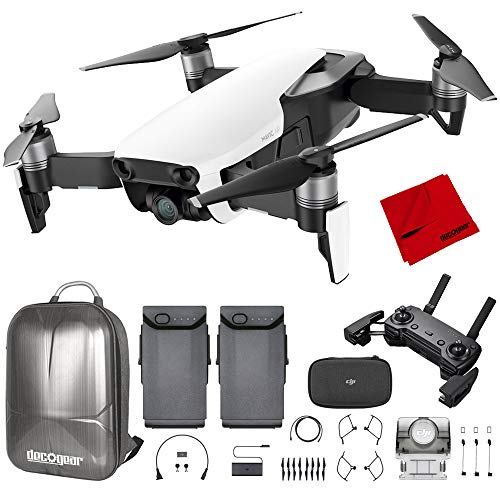 DJI Mavic Air Quadcopter with Remote Controller - Arctic White Max Flight Bundle with Spare Battery, and Custom Mavic Air Hard Shell Back Pack