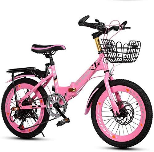 Sooiy Los niños Variable Frame Velocidad Deportes de Bicicletas Mountain Bike Kid Boys & Girls Doble Freno de Disco Volver Y Cesta Bicicletas de Carretera,Rosado,20inch