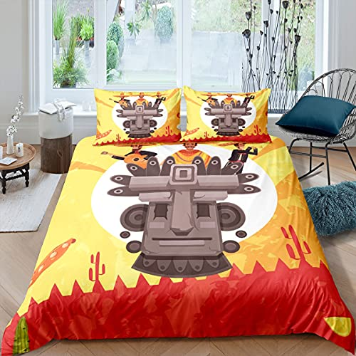 Juego de sábanas ajustables con bolsillo profundo de color rojo y amarillo para niños, adolescentes, dormitorio, 3 piezas (1 sábana bajera y 2 fundas de almohada) tamaño doble
