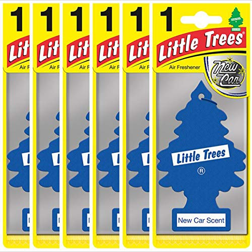 LITTLE TREES 'New Car ' Fragrance Tree-Shaped Air Freshener for Car Vehicle Van Home Caravan Long-Lasting Fresh Aroma Scent Bathroom Pet Dog - Six Pack