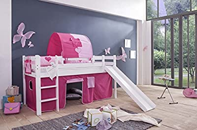 Unbekannt Tony Children's Bunk Bed Play Bed with Slide Pine White Princess