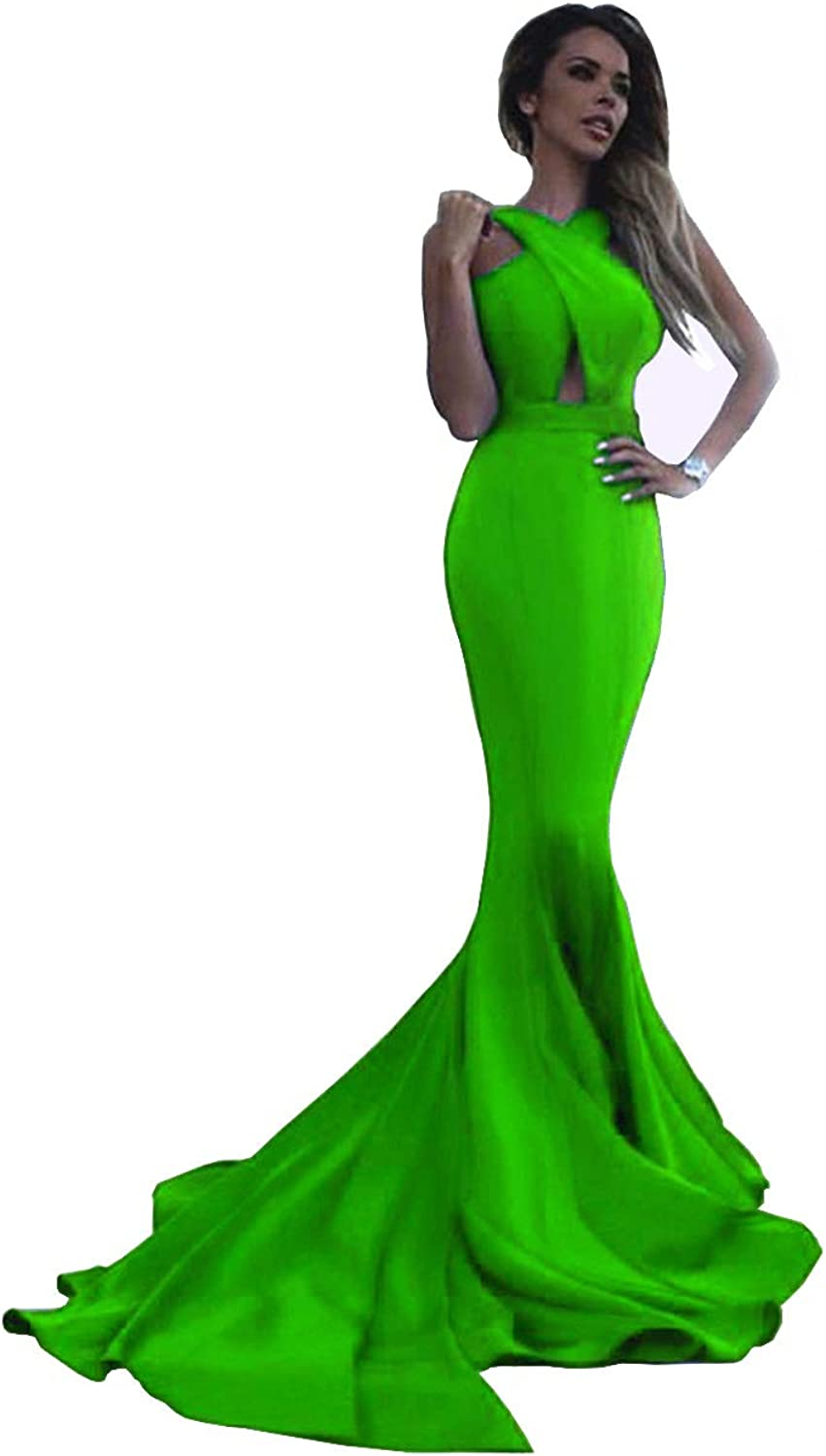 Sweet Bridal Women's Long Mermaid Open Back Prom Dresses Evening Formal Gowns