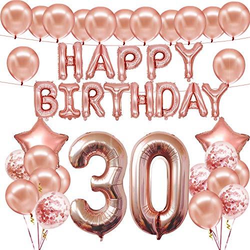 JINGYOU Decorazioni Compleanno Rosa Oro 30 Anni,30 ° Compleanno Decorazioni per Donna,30 ° Decorazione Buon Compleanno in Oro Rosa,30 ° Compleanno Decorazioni per Feste per Il Trentesimo Compleanno