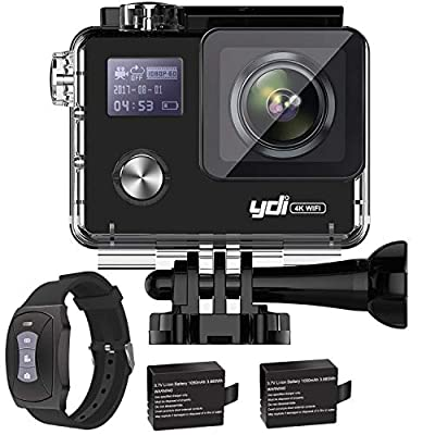 YDI G80 4K Action Camera Dual Screen Ultra HD 20MP WiFi Gyro Camcorder Waterproof Sports Cam with 2.4G Rechargeable Remote Control/2 * 1050 mAh Batteries/Accessories Kits