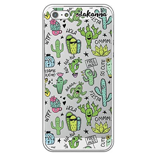 dakanna Funda Compatible con [iPhone 5-5S - SE] de Silicona Flexible, Dibujo Diseño [Pattern Divertido de Cactus y Frases], Color [Fondo Transparente] Carcasa Case Cover de Gel TPU para Smartphone