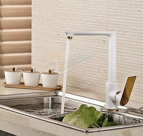 CNBBGJ Peinture à froid en laiton robinets d'évier de cuisine, cuisine robinetterie,plaqué Or blanc +