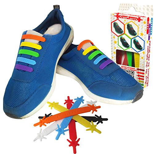 FunFitness Cordones Elasticos Gomas Cordón Elasticas Zapatillas de Silicona para Halar y Bloquear Fácilmente Perfecto para Niños o Adultos Mayores con Artritis