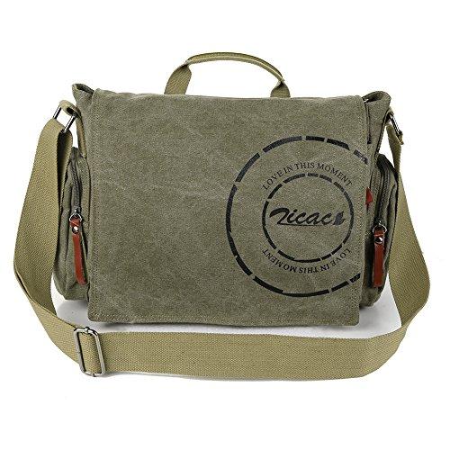 Borsa uomo-borsa a Spalla per la Scuola Militare Tela Bag Tracolla Messenger (Verde Militare)