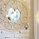 HCYY Espejo Decorativo Circular Tejido a Mano, Tapiz de Hilo de algodón para decoración de Paredes de Dormitorio, B + 18 Pulgadas
