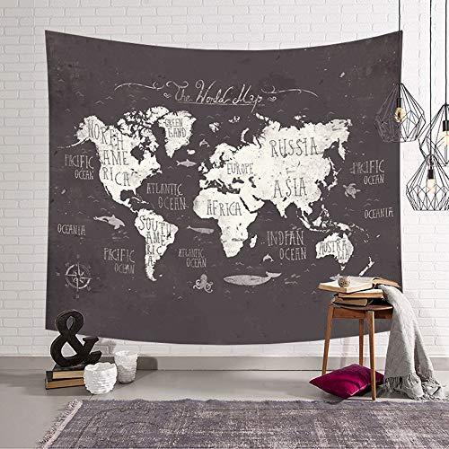 Chickwin Mapa del Mundo Tapiz Pared de Creativo Tapicería Tapices Impreso Decoración Cubierta del Sofa Manteles Cortina Picnic Blanket Playa (150 x 200 cm, Fondo marrón)