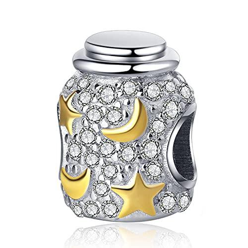 LIJIAN DIY 925 Sterling Jewelry Charm Beads con Zirconia Deseando Botella Moda Haga Originales Pandora Collares Pulseras Y Tobilleras Regalos para Mujeres